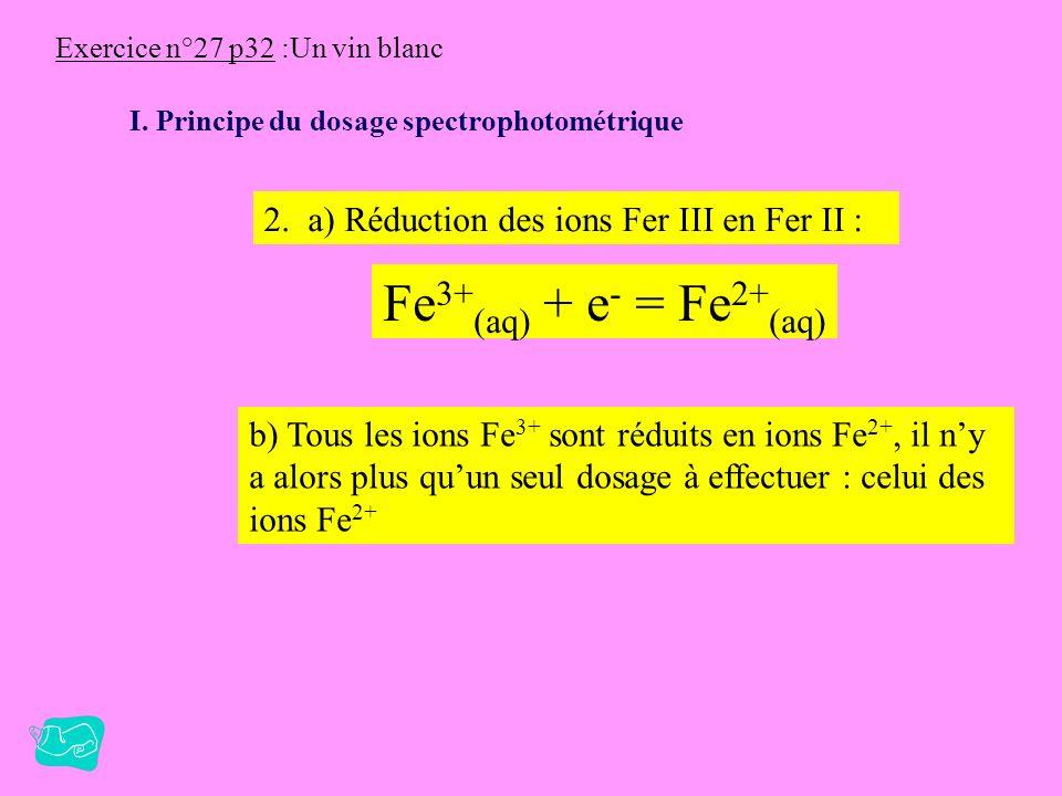 Fe3+(aq) + e- = Fe2+(aq) 2. a) Réduction des ions Fer III en Fer II :