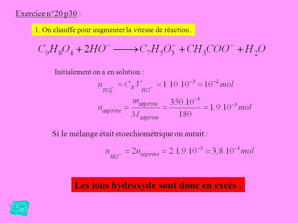 Les ions hydroxyde sont donc en excès .