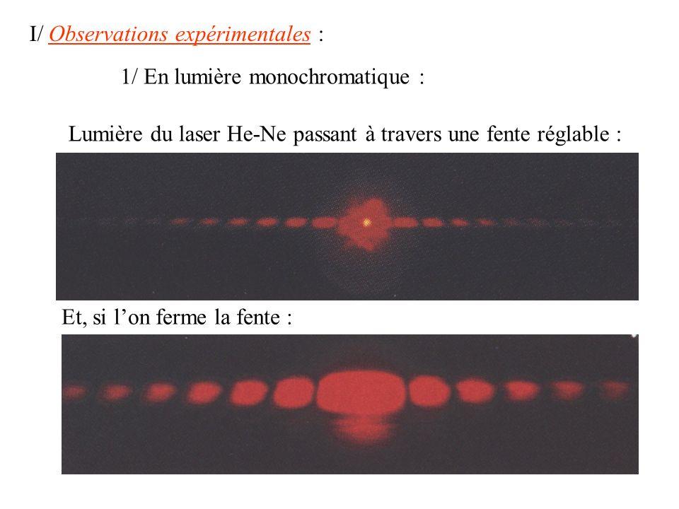 I/ Observations expérimentales :