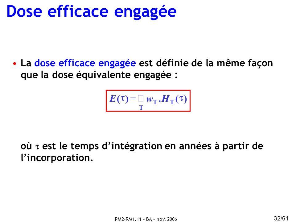 Dose efficace engagée La dose efficace engagée est définie de la même façon que la dose équivalente engagée :