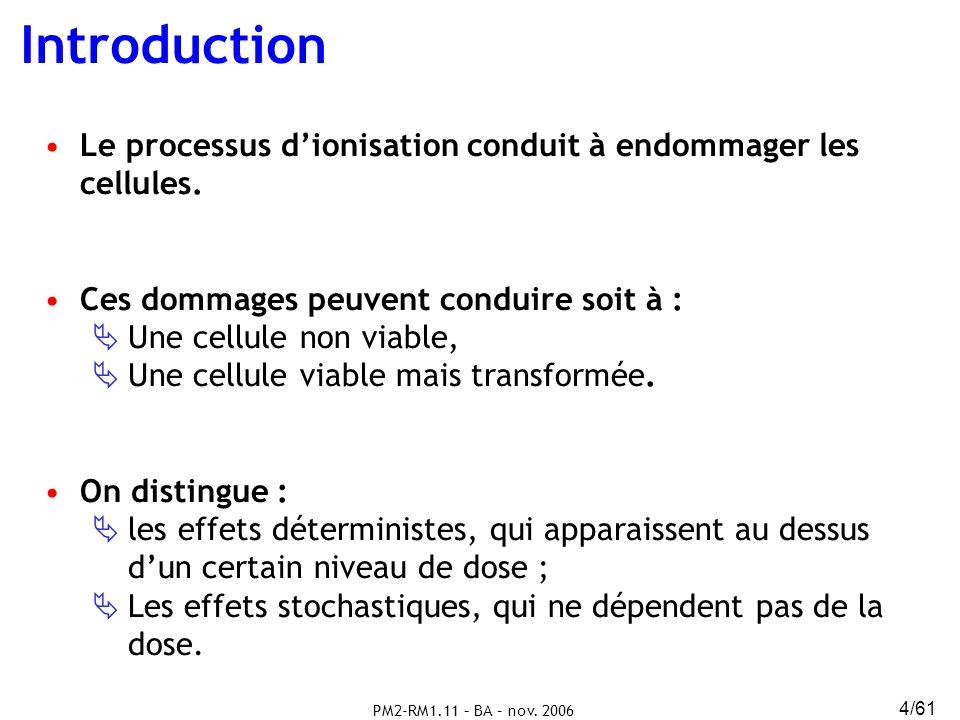Introduction Le processus d'ionisation conduit à endommager les cellules. Ces dommages peuvent conduire soit à :