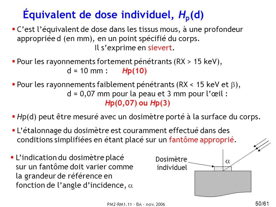 Équivalent de dose individuel, Hp(d)