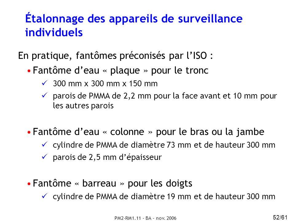 Étalonnage des appareils de surveillance individuels