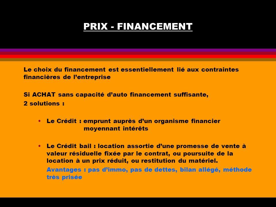 PRIX - FINANCEMENT Le choix du financement est essentiellement lié aux contraintes financières de l'entreprise.