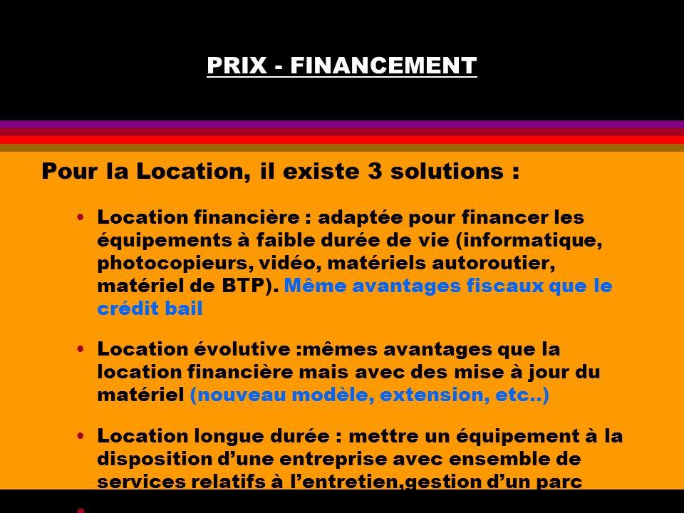 Pour la Location, il existe 3 solutions :