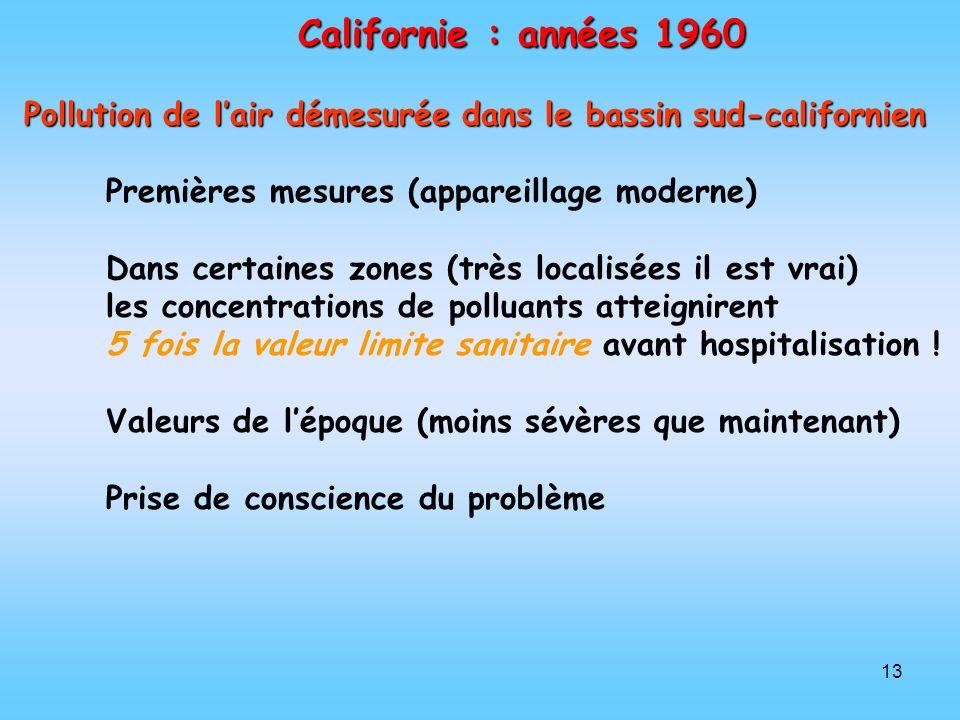 Californie : années 1960 Pollution de l'air démesurée dans le bassin sud-californien. Premières mesures (appareillage moderne)