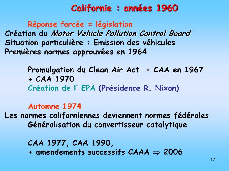 Californie : années 1960 Réponse forcée = législation