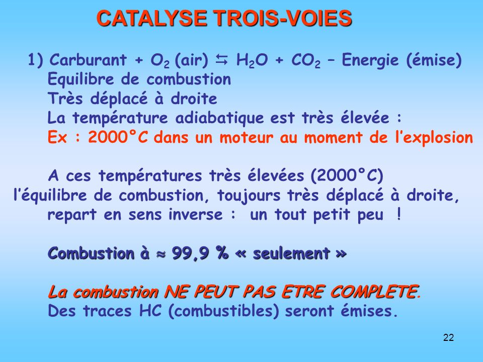 CATALYSE TROIS-VOIES 1) Carburant + O2 (air)  H2O + CO2 – Energie (émise) Equilibre de combustion.