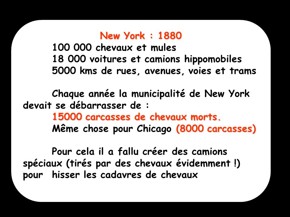 New York : 1880 100 000 chevaux et mules. 18 000 voitures et camions hippomobiles. 5000 kms de rues, avenues, voies et trams.