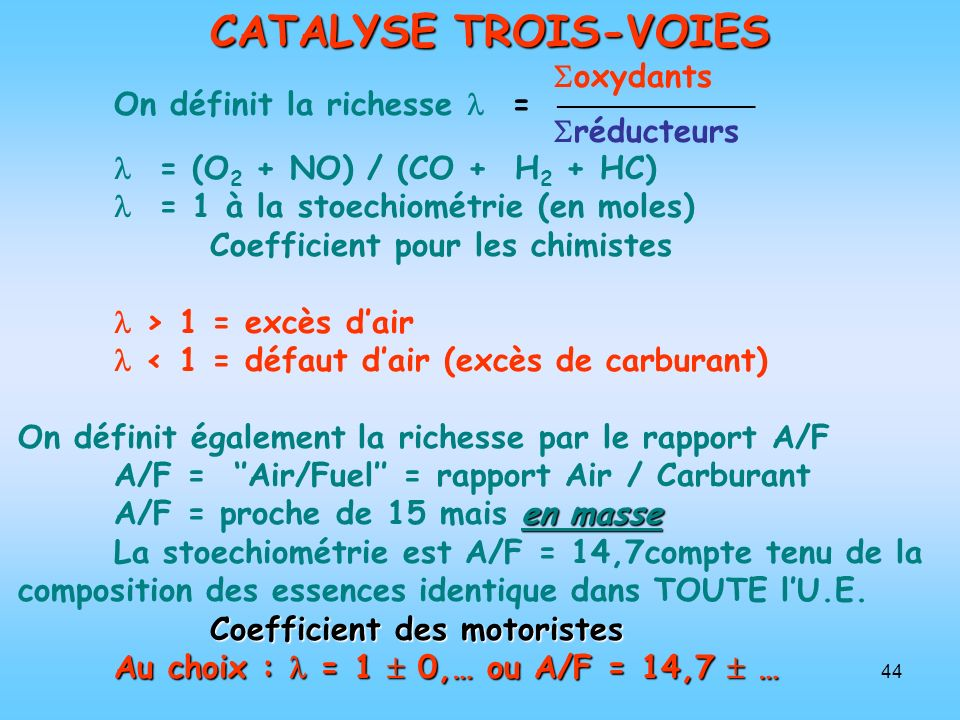 CATALYSE TROIS-VOIES oxydants On définit la richesse  = 