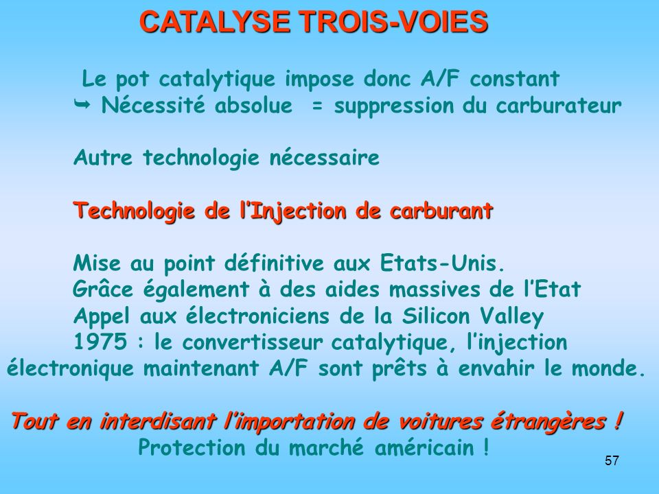 CATALYSE TROIS-VOIES Le pot catalytique impose donc A/F constant