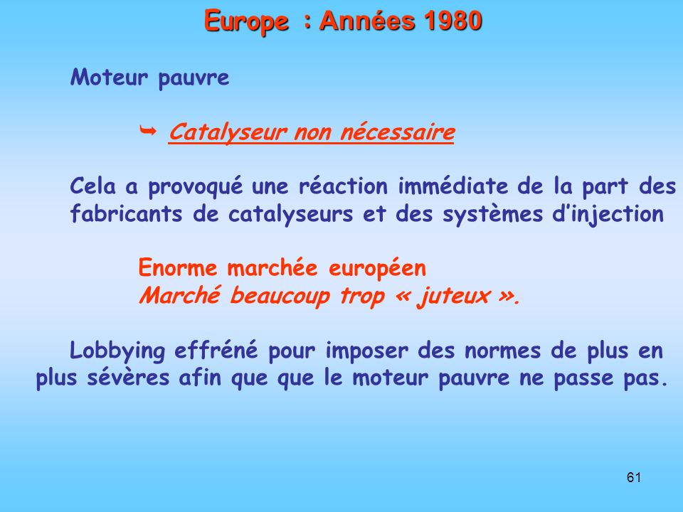 Europe : Années 1980 Moteur pauvre  Catalyseur non nécessaire