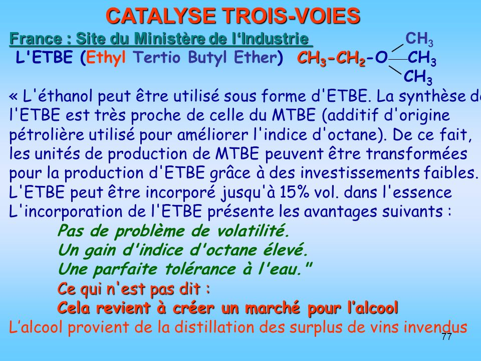 CATALYSE TROIS-VOIES France : Site du Ministère de l'Industrie CH3
