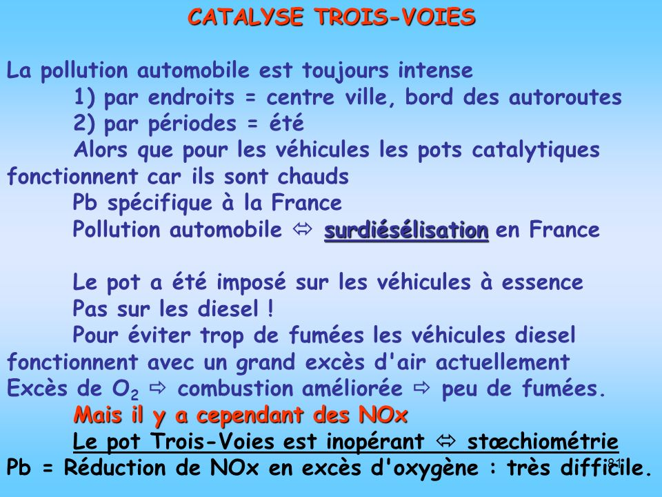 CATALYSE TROIS-VOIES La pollution automobile est toujours intense. 1) par endroits = centre ville, bord des autoroutes.