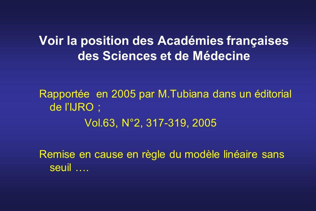 Voir la position des Académies françaises des Sciences et de Médecine