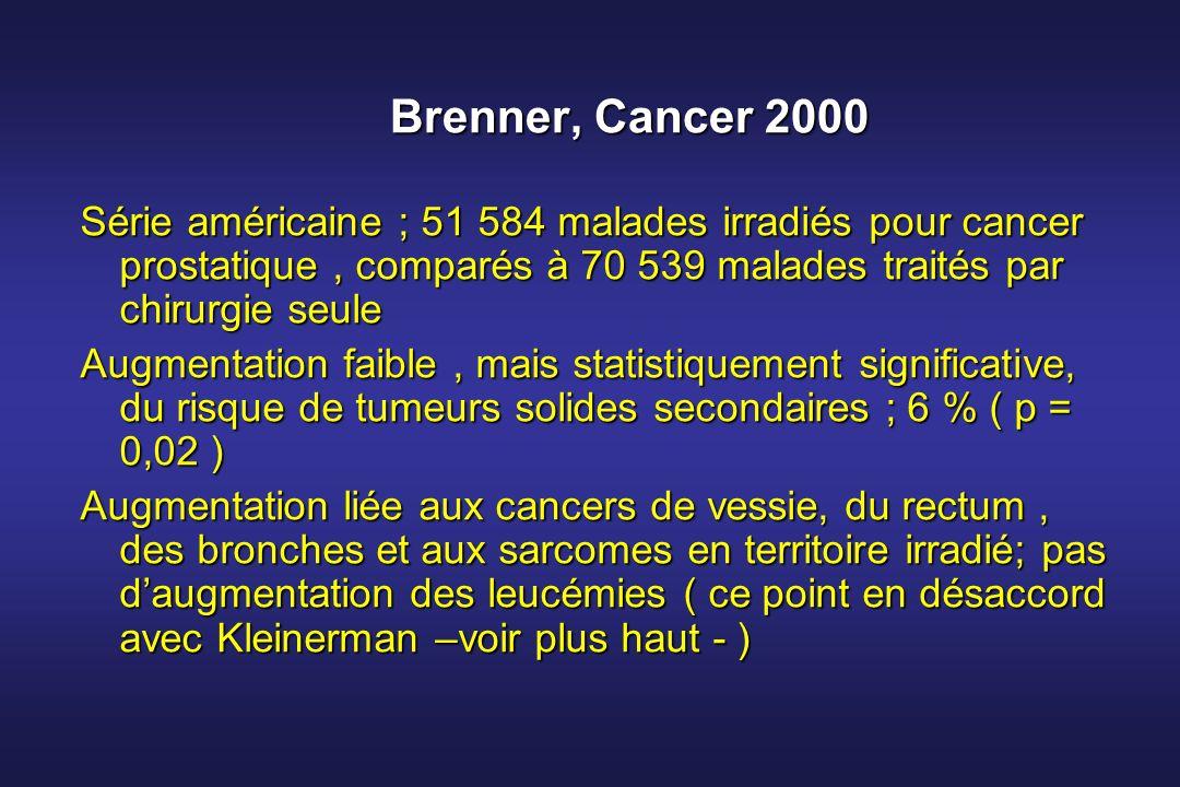 Brenner, Cancer 2000 Série américaine ; 51 584 malades irradiés pour cancer prostatique , comparés à 70 539 malades traités par chirurgie seule.