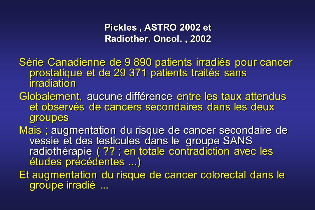 Pickles , ASTRO 2002 et Radiother. Oncol. , 2002