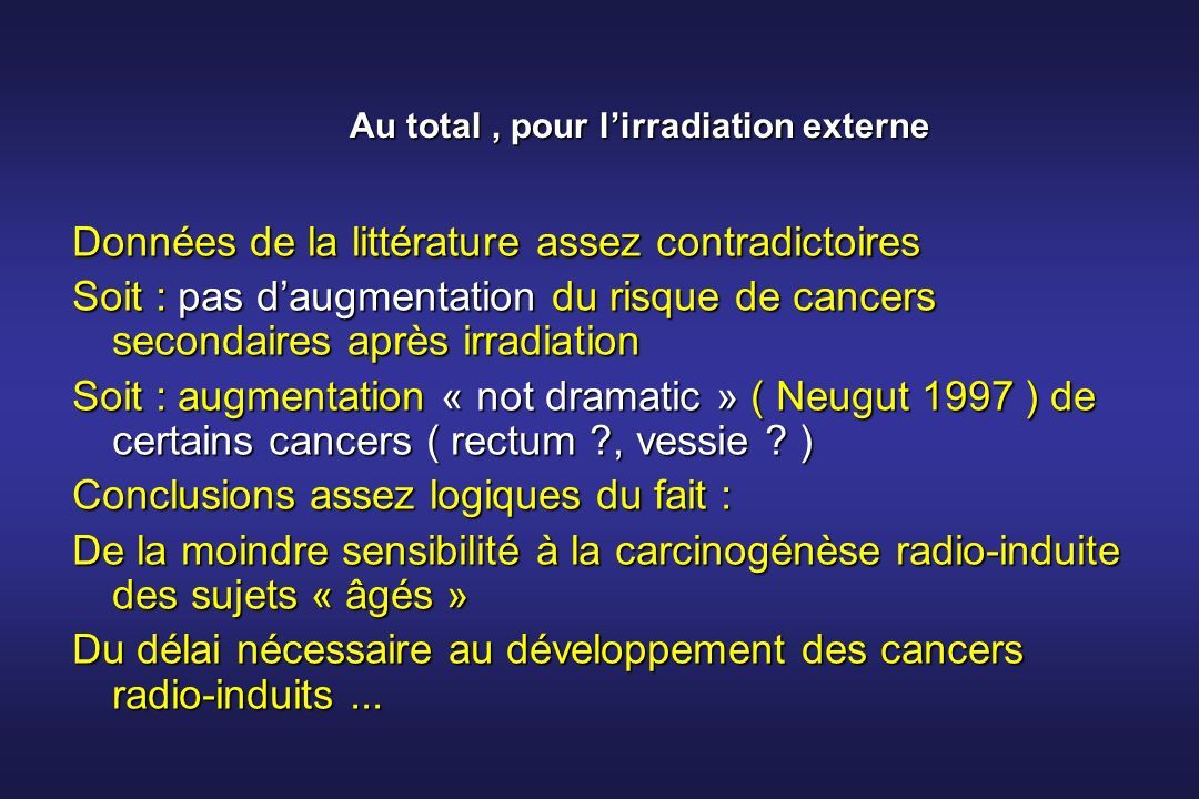 Au total , pour l'irradiation externe