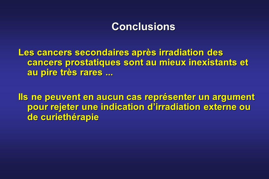 Conclusions Les cancers secondaires après irradiation des cancers prostatiques sont au mieux inexistants et au pire très rares ...