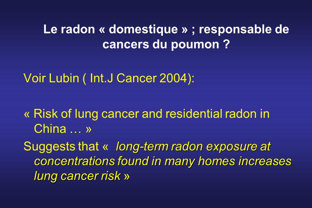 Le radon « domestique » ; responsable de cancers du poumon