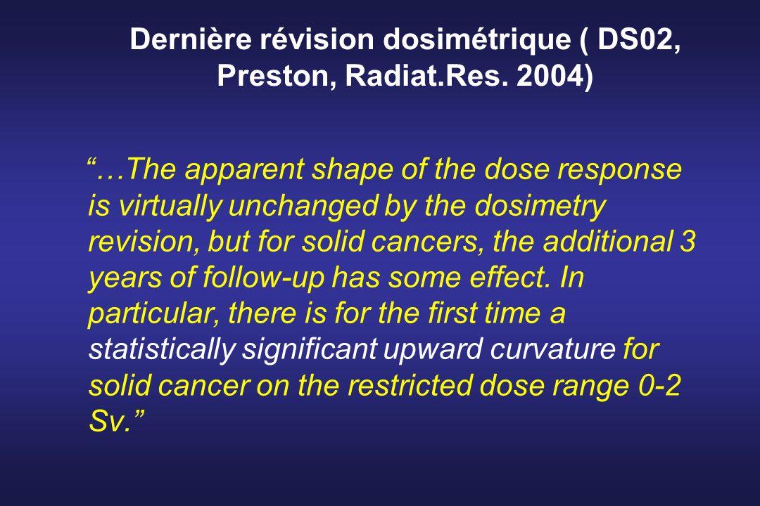 Dernière révision dosimétrique ( DS02, Preston, Radiat.Res. 2004)