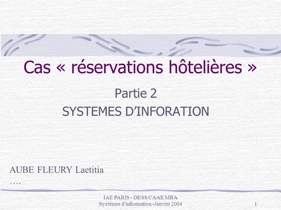 Cas « réservations hôtelières »