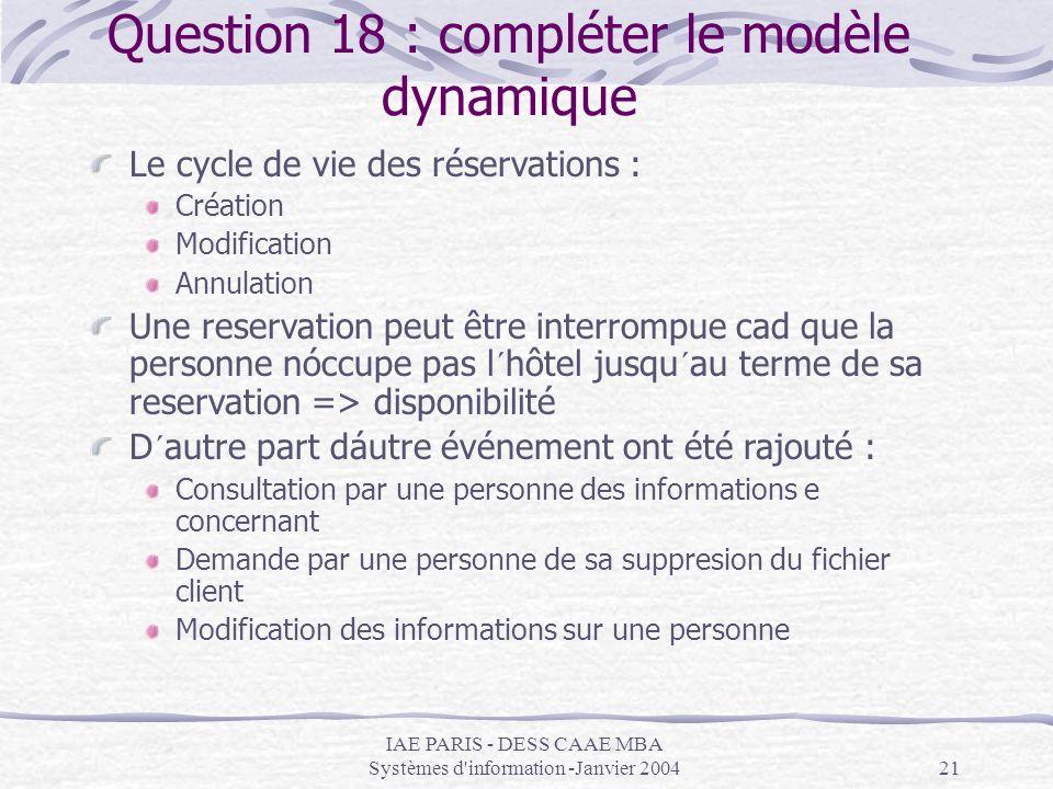 Question 18 : compléter le modèle dynamique