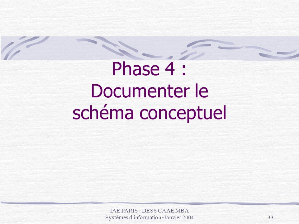 Phase 4 : Documenter le schéma conceptuel