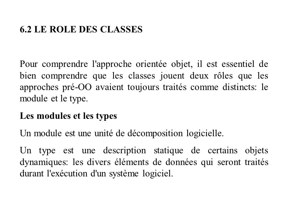 6.2 LE ROLE DES CLASSES