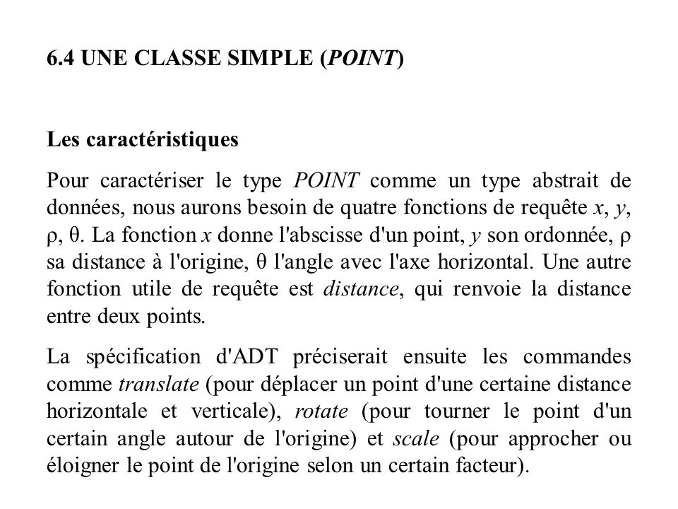6.4 UNE CLASSE SIMPLE (POINT)