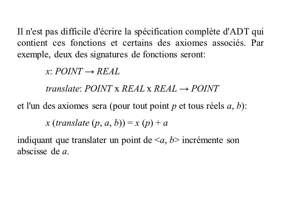 Il n est pas difficile d écrire la spécification complète d ADT qui contient ces fonctions et certains des axiomes associés. Par exemple, deux des signatures de fonctions seront: