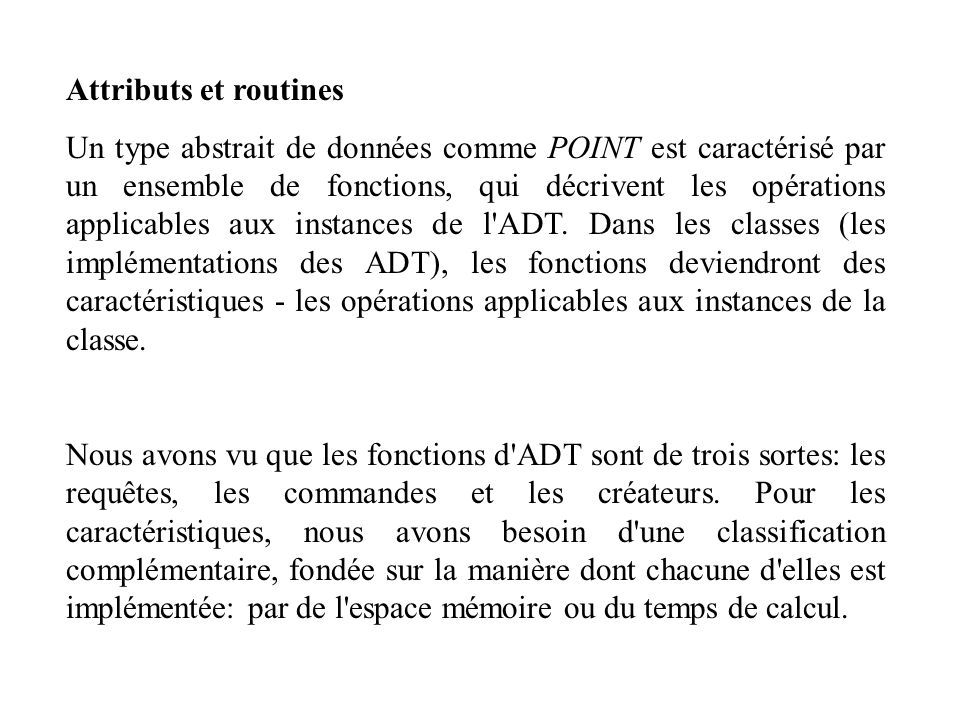 Attributs et routines