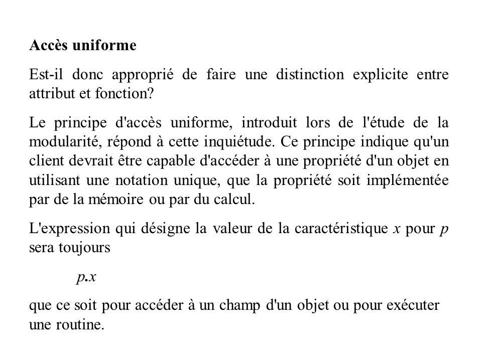 Accès uniforme Est-il donc approprié de faire une distinction explicite entre attribut et fonction