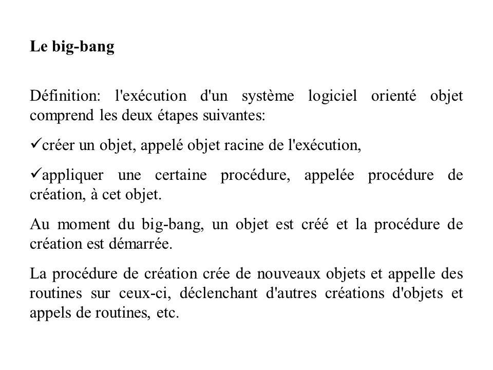 Le big-bang Définition: l exécution d un système logiciel orienté objet comprend les deux étapes suivantes: