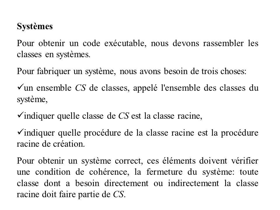 Systèmes Pour obtenir un code exécutable, nous devons rassembler les classes en systèmes.