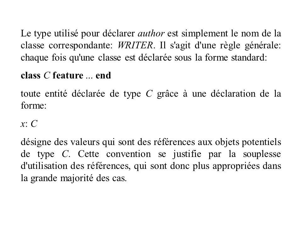 Le type utilisé pour déclarer author est simplement le nom de la classe correspondante: WRITER. Il s agit d une règle générale: chaque fois qu une classe est déclarée sous la forme standard: