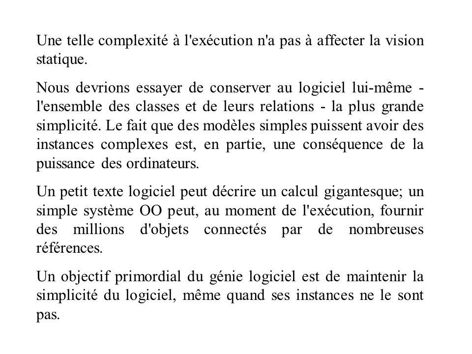 Une telle complexité à l exécution n a pas à affecter la vision statique.