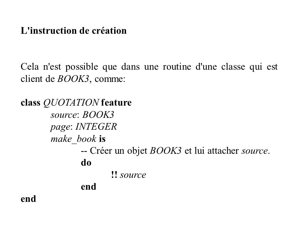 L instruction de création