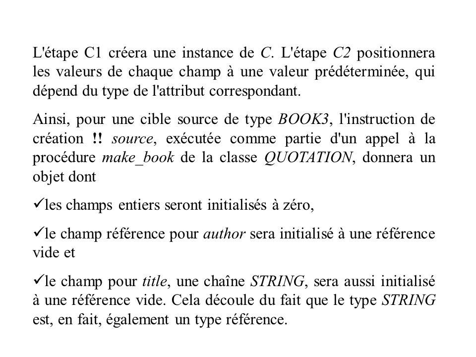 L étape C1 créera une instance de C