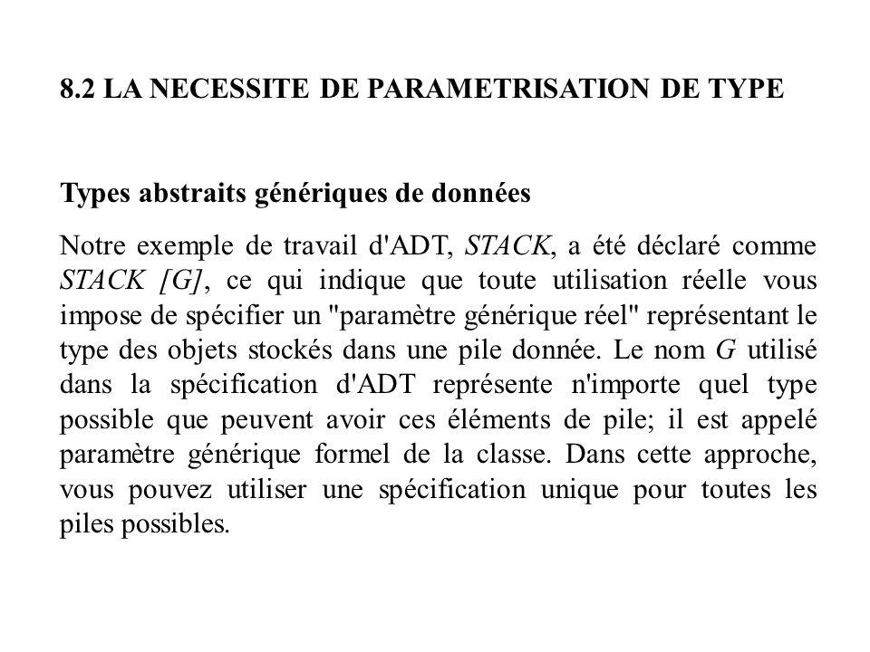 8.2 LA NECESSITE DE PARAMETRISATION DE TYPE