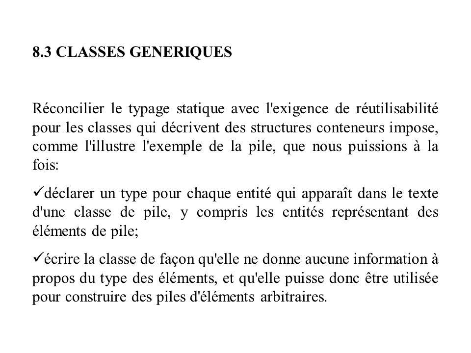 8.3 CLASSES GENERIQUES