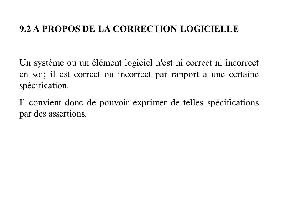 9.2 A PROPOS DE LA CORRECTION LOGICIELLE