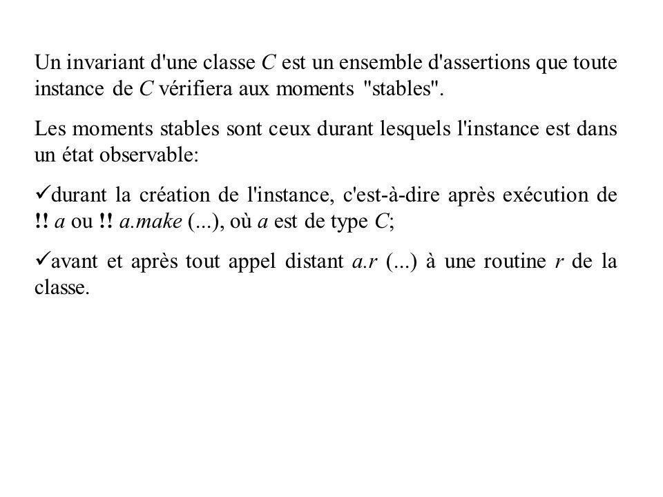 Un invariant d une classe C est un ensemble d assertions que toute instance de C vérifiera aux moments stables .