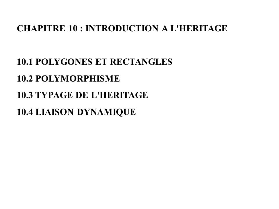 CHAPITRE 10 : INTRODUCTION A L HERITAGE
