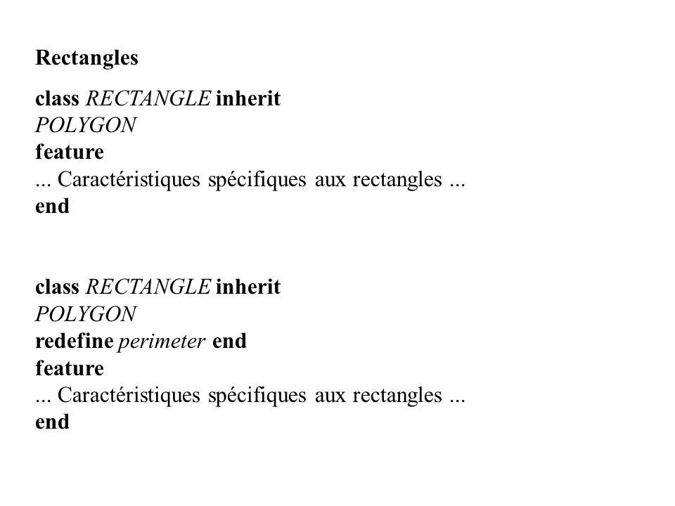 Rectangles class RECTANGLE inherit. POLYGON. feature. ... Caractéristiques spécifiques aux rectangles ...