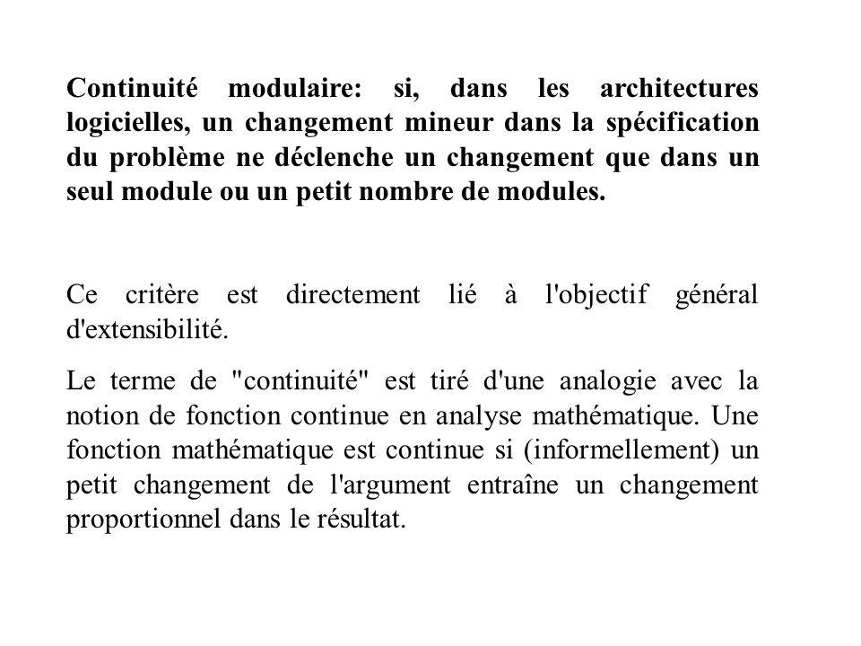 Continuité modulaire: si, dans les architectures logicielles, un changement mineur dans la spécification du problème ne déclenche un changement que dans un seul module ou un petit nombre de modules.