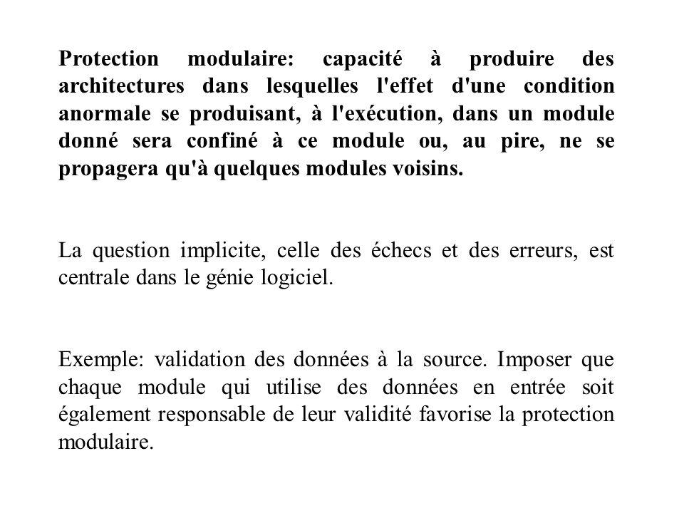 Protection modulaire: capacité à produire des architectures dans lesquelles l effet d une condition anormale se produisant, à l exécution, dans un module donné sera confiné à ce module ou, au pire, ne se propagera qu à quelques modules voisins.