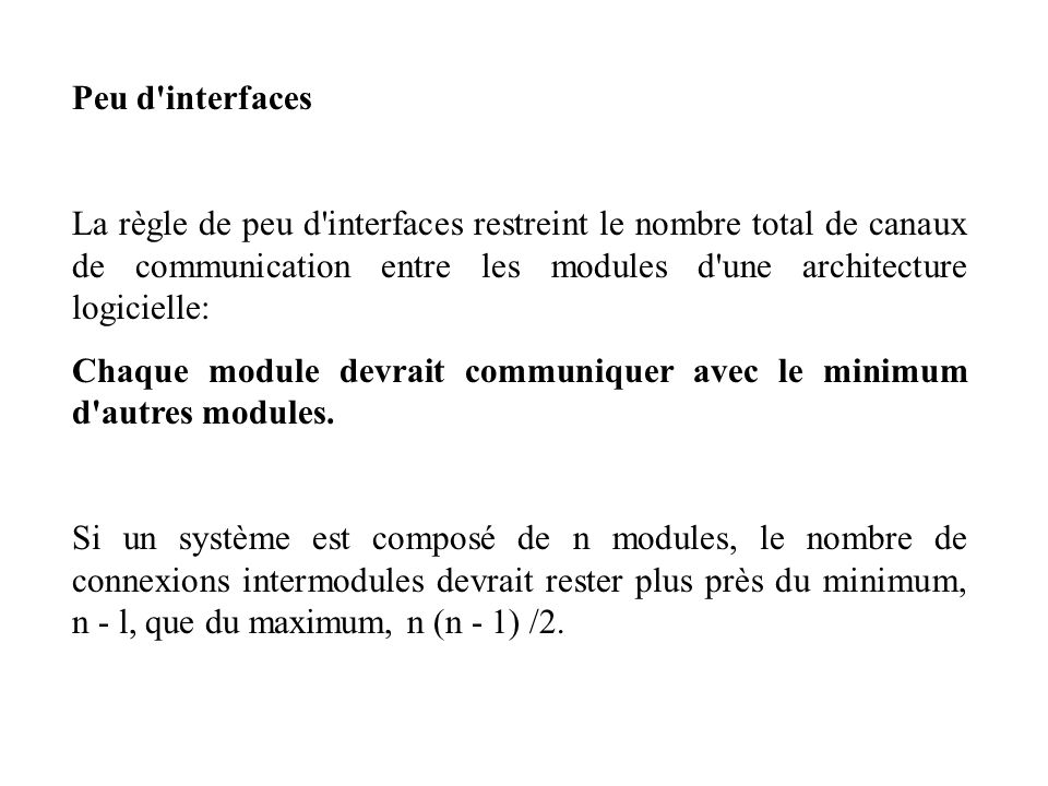 Peu d interfaces