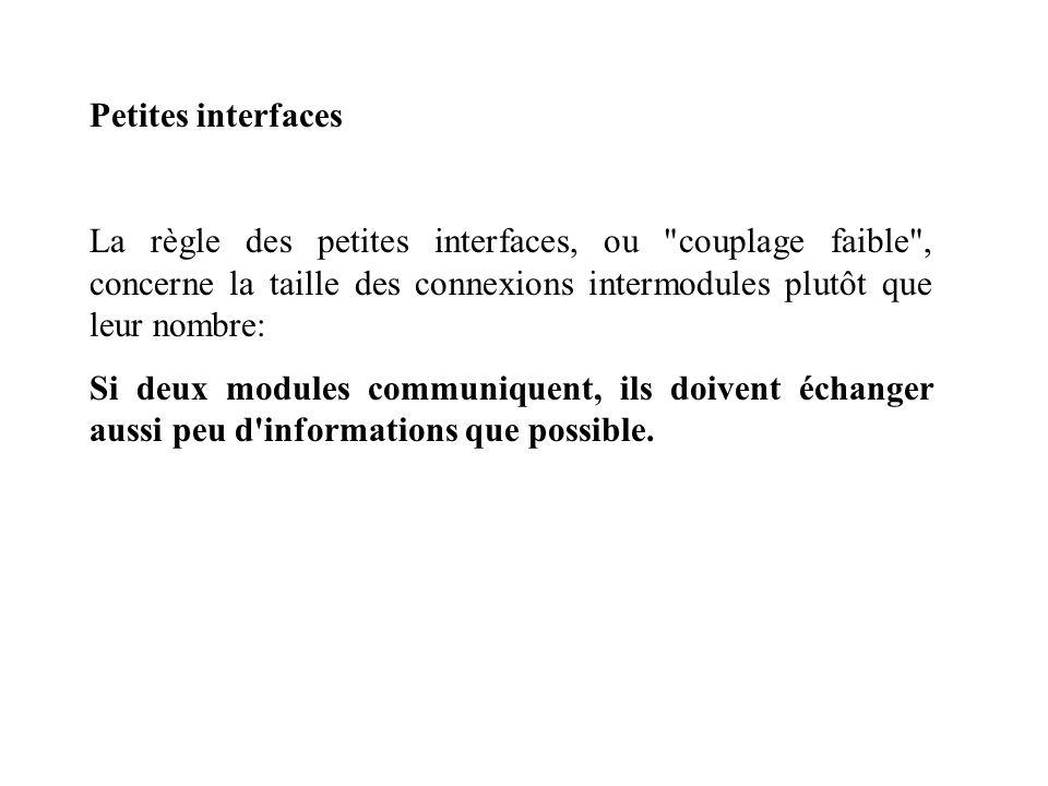Petites interfaces La règle des petites interfaces, ou couplage faible , concerne la taille des connexions intermodules plutôt que leur nombre: