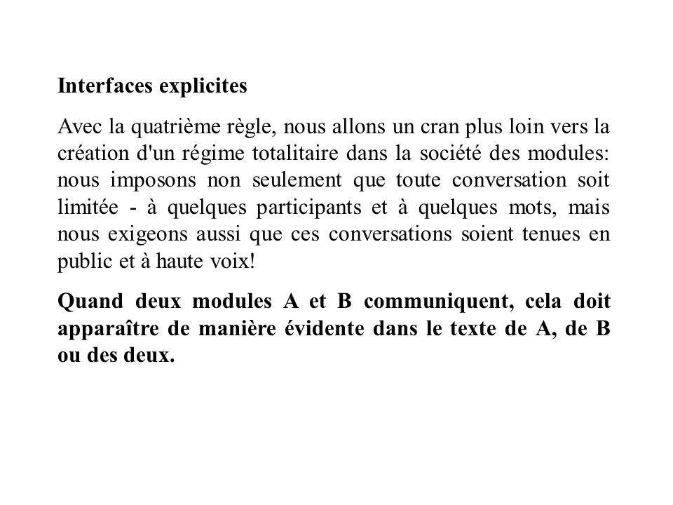Interfaces explicites